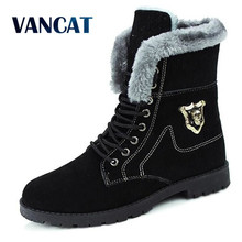 Buy VANCAT Winter Men Boots Faux Leather Dress Boots Suede Casual Men Shoes Warm Botas Brand Black Male Suede Ankle Snow Boot for $21.59 in AliExpress store