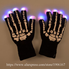 Pair of led gloves luminous finger light novelty gloves party supplies dancing club props light up toys glowing unique gloves(China)