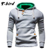 T-bird Sweatshirts Men 2017 Brand Hoodie Decorative Buttons Fashion Hip Hop Mens Hoodies Autumn Winter Pullover Male Sportswear(China)