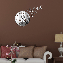 2016 Fashion Creative Butterfly Design Wall Clocks Acrylic Mirror Home Decoration Wall Sticker Decor Clock VB918 P15 10