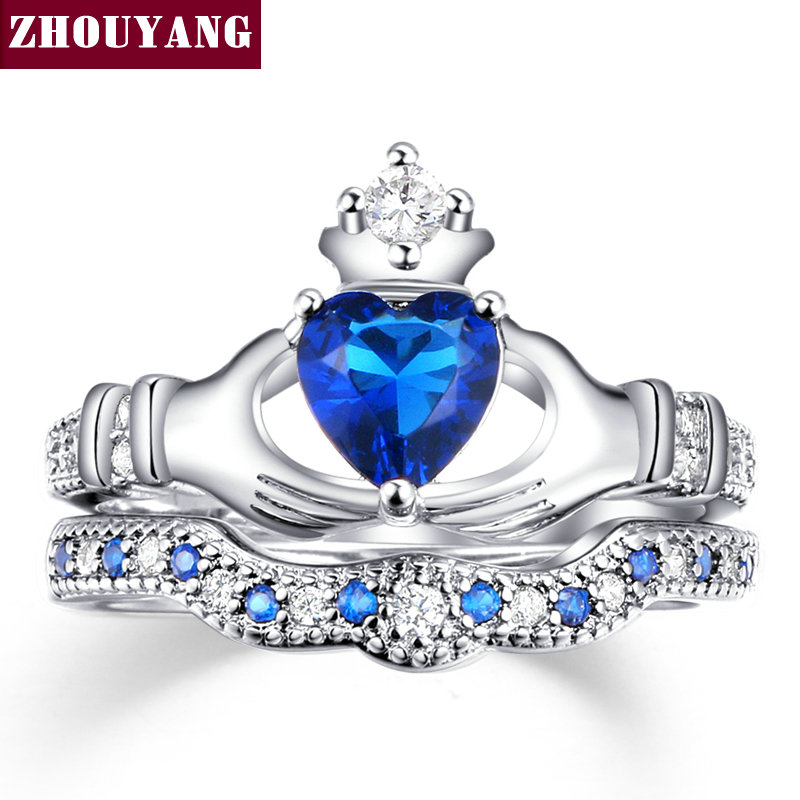Holding the Created Blue Crystal love Heart Cubic Zirconia Crown Wedding Ring Sets Silver Color Blue