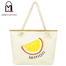 2017 Newest Fashion Beach Bag Fruit Print Lemon Design Large Canvas Tote Women Rope Handble Tote Bag Women Bags Shopping Bag