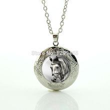 Hottest animal jewelry horse art picture glass dome jewelry leisure series essential locket pendant morocco fashion jewelry N976(China)