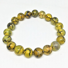 Classicial yellow veins dragon carnelian onyx agat round beads 8mm,10mm,12mm elastic rope fashion bracelet jewelry 7.5inch B1522(China)