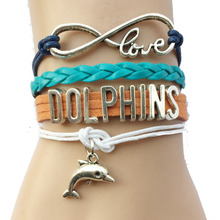 Drop Shipping Infinity love Miami Dolphins Bracelet- NFL Football Team Sports Leather Wrap Bracelets Bangle