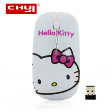 CHYI Cute Cartoon Wireless Mouse Ultra Thin Hello Kitty Computer Mause 1600DPI Optical Gaming Mice For Christmas Gift