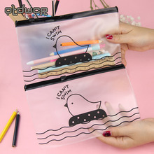 2PCS Student Stationery Cute Creative Chicken PVC Envelope Receive Bag Of Translucent Pencil Bags(China)