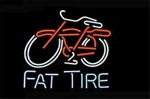 NEON SIGN For BIG FAT TIRE BICYCLE BIKE LOGO Signboard REAL GLASS BEER BAR PUB  display  RESTAURANT outdoor Light Signs 17*14""