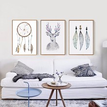 HAOCHU Indian Style Dream Catcher Net with Feather Canvas Painting Deer Print Hanging Poster Art Craft Gift for Home Decorations