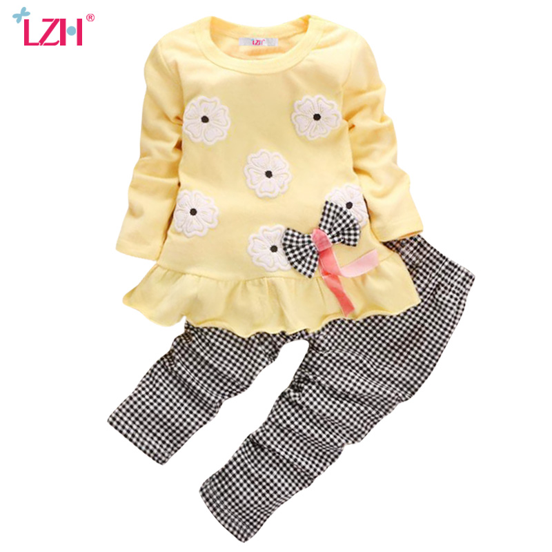 LZH Children Clothing 2017 Autumn Winter Kids Girls Clothes Set Christmas T-shirt+Pant 2pcs Outfit Baby Toddler Girls Sport Suit(China (Mainland))
