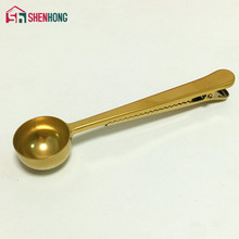 Gold Universal Heathful Cooking Tool Stainless 1 Cup Ground Coffee Measuring Scoop Spoon with Bag Sealing Clip Good Helper