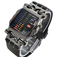 New Arrival Popular Square Dial Uisex Binary LED Digital Watches Plastic Band Casual Sport Wrist Watch 5V5U