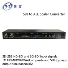 SDI to ALL Scaler Converter SD-HD-3G-SDI input TO HDMI/DVI/VGA/CVBS/Composite and SDI (bypass) output Splitter