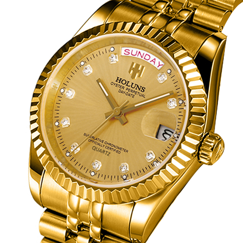 Holuns Men Watches Diamond Role-Quartz Clock Calendar Stainless-Steel Gold Top-Brand title=