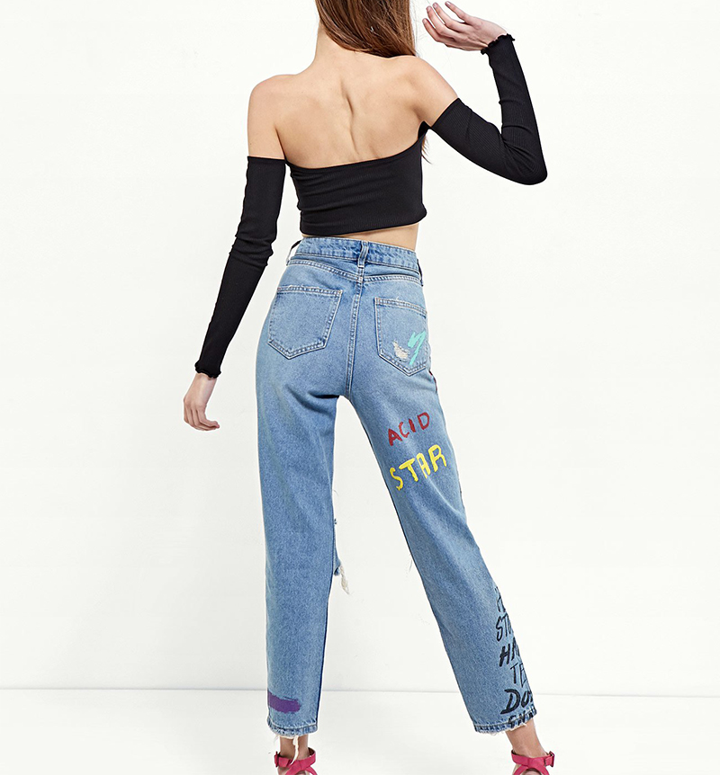 ShejoinSheenjoy Fashion Graffiti Print Jeans Woman High Waist Ripped Jeans For Women Zipper Casual Straight Denim Pants Trousers (7)