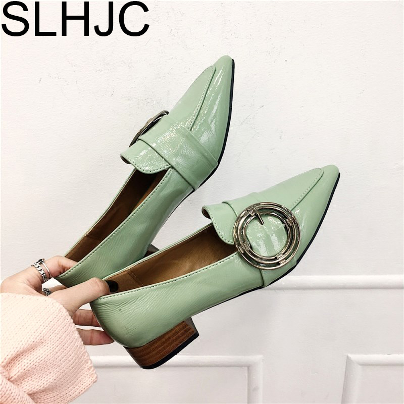 SLHJC Leather Pumps Women Pointed Toe Low Heels Shoes Slip Casual Fashion Square Heel Metal Buckle Spring Autumn Pump Shoes