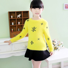 Kids Winter Sweater Girls Knitted Sweater,New Arrival Autumn Girl Pullovers Thicken Mohair Sweaters,Children Sweaters(China)