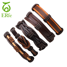 ER 5pcs Genuine Brown Wrap Leather Bracelet Male Hand Accessories Women Knitted Braclet Men Cuff Wrist Band LB048