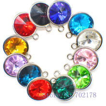 10pcs/lot Birthstones 17mm Dangle Pendant Hang Charm Fashion Jewelry Fit Necklaces bracelets key chains mobile phone straps