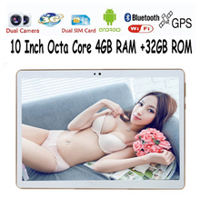 Free shipping 10 inch MTK8752 3G Dual SIM WCDMA GPS 4GB/32GB Android 5.1 Tablet PC support Google Play store(China)