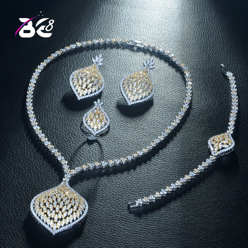 Be 8 Luxury Dubai Jewelry Sets Elegants Clear Zirconia Teardrop Bridal Set Necklace Earring Bracelet Dress Accessories S317