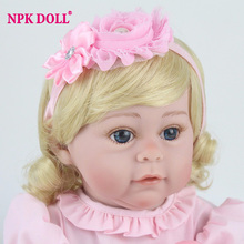NPKDOLL 17''/42cm Soft Full Body Silicone Reborns Lifelike Reborn Babies Fashion Dolls For Girls Gift Toys Brinquedos(China)