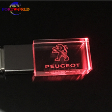 PEUGEOT Pen Drive 8GB 16G Memory Stick USB 2.0 New Crystal Car Logo 32GB USB Stick LED Light with 3 Colors