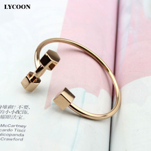 Newest fashion women cuff square dumbbell bracelet bangles 316L stainless steel cube plated rose gold/black/gold Cuff bangle(China)