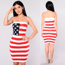 Independence Day Celebration women dresses The Stars and The Stripes printing off the shoulder ladies Summer dress 2017 YM8124