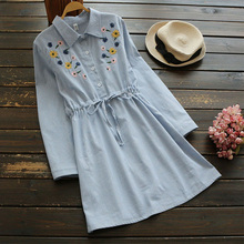Spring Summer Cute Sky Blue Striped Sunflower Embroidery Shirt Dresses Women Japanese Long Sleeve Female Mini Dress U503