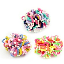 20pcs/Lot  3CM Child Baby Kids Simulated Pearl  Bead Ponytail Holders Hair Accessories For Girl Rubber Band Tie Gum Accessory