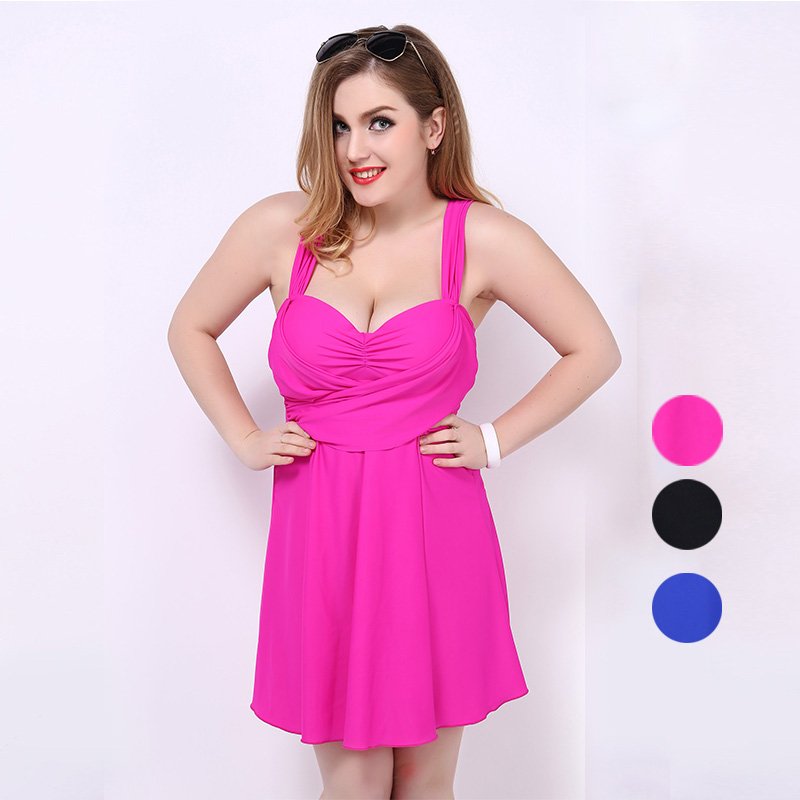 2015 One Piece Swimsuit Swimwear Beachwear Skirt Bathing Suit Women Extra Plus Size Summer Swimming Suit Solid Color Cover-ups<br>