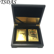 FREE SHIPPING 2 Set Gold Plated Playing Cards + 1pc Black Wooden Box, 24kt Gold Cards With USD 100 Dollar(Gold & Colored)(China)