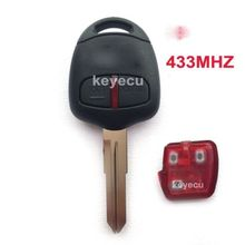 2 Button Keyless Entry Uncut Blade New Remote Key Fob 433MHz ID46 CHIP for Mitsubishi Outlander L200 Shogun Lancer