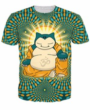 Buddha Snorlax T-Shirt sleeping type Pokemon Snorlax Buddha Cartoon character t shirt summer style tees camisetas for women men