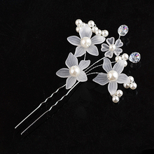Luxury pearl crystal flower hair hair comb gold and silver hair fork bride headdress ladys hair jewelry wedding jeweler FS-015
