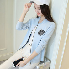 43 new dress zipper cardigan coat sweater slim Korean baseball F1645
