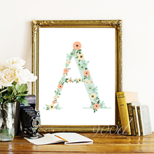 "Floral monogram nursery Letter ""A"" Art Print Art Print painting Poster, Wall Pictures for Home Decoration Wall Decor, FA239-2(China)"