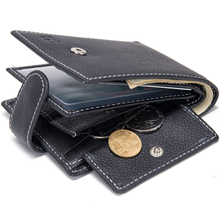 Baborry Dollar Price Men's Wallets Genuine Cow Leather With Coin Pocket Black Thin Slim Hasp 3 Folds ID Card Holder Purse Wallet