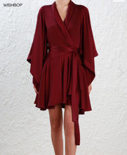 2018 Woman Luxury Burgundy sueded silk Robe dress wrap front kimono sleeves flounced Pleated Asymmetric Mini dress with Belt(China)