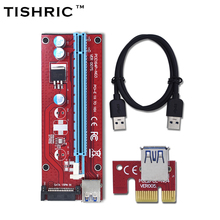 TISHRIC New Red VER007S PCI Express Riser Card 1x to 16x PCI-E extender 60cm USB 3.0 Cable 15Pin SATA Power for BTC Miner