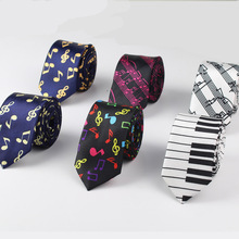 New Style Men's Fashion Neckties Helloween Festival Christmas Tie Soft Designer  Character Necktie Music score piano Guitar