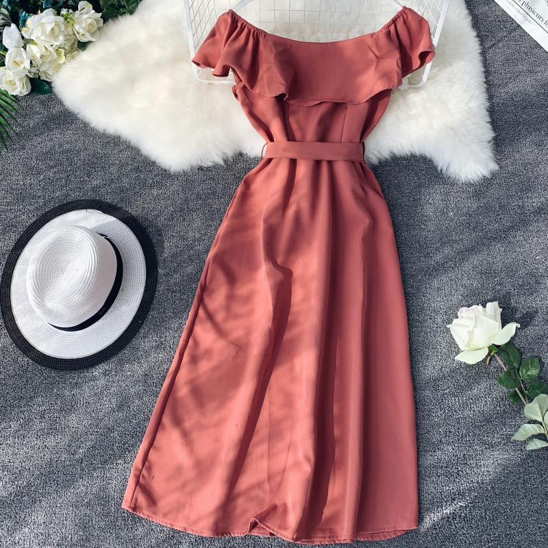 Women White Orange Casual Access Slash Neck Solid Color Single Breasted Vestidos E459 35 Online shopping Bangladesh