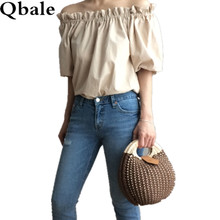 Qbale 2017 Summer women Tees Ladies Casual solid Puff Sleeve short T-Shirt Female Slash neck Off Shoulder Regular Length Tops