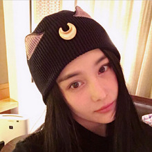 Pretty Soldier Sailor Moon Cosplay Elegant Women Knitted Hats Luna cat ear Elegant Women Knitted Hats Outdoor Ski Sports Cap(China)