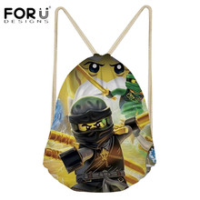 FORUDESIGNS Boys Drawstring Backpack Cartoon Ninjago 3D Pattern String Bag School Backpack Teenage Boys Kids Drawstring Bags