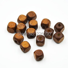 100pcs/lot 10mm Square-shaped Cube Coffee Wood Crafts Natural Wooden Beads For Bracelet Necklace DIY Jewelry Findings Y787