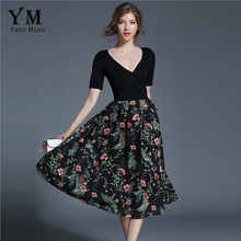 Buy YuooMuoo New Arrival Printed Mid-Waist High Street A-Line Dress Ladies Sexy V-neck Patchwork European Style Long Summer Dresses for $23.16 in AliExpress store