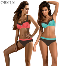CHENLUN style Crystal drill sexy bikini Set 2018 Summer Low Waist Bathing Suits Halter Top Push Up Swimsuit Plus Size Swimwear(China)