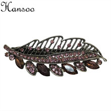 Hansoo Purple Crystal women hair accessory 6cm hairpin Leaf Clips hair Barrettes girls hairpin lady,s Hairbands baby hair bands